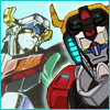 An icon with the Legendary Defender Voltron and the 1980's Voltron in the background